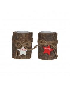 Vela navideña con tronco colores surtidos 9,5x8cm