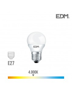 Bombilla esferica led - smd - e27 - 5w - 400 lumens - 4000k - luz dia - edm