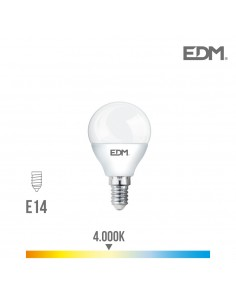 Bombilla esferica led - smd - e14 - 6w - 500 lumens - 4000k - luz dia - edm