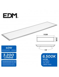 Panel led 120x30cm 40w 6.500k luz fria 3200 lumenes