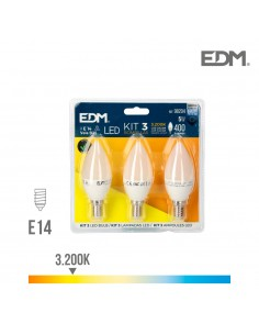 Kit 3 bombillas led vela 5w e14 3.200k edm