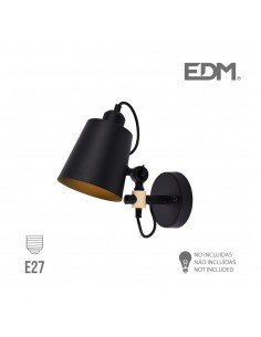 Aplique pared e27 negro edm