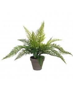 Helecho verde pvc con maceta gris 40x11.5cm