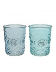 Vaso de cristal con relieve dia8.3x10.3cm 350ml