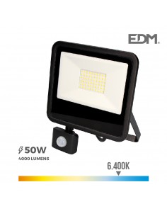 "Foco led 50w 6400k con sensor ""black edition"" lumeco"