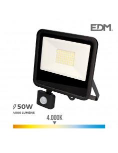 "Foco led 50w 4000k con sensor ""black edition"" lumeco"