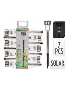 Pack 7 estacas solar de acero inoxidable