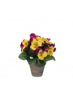 Pensamiento amarillo y purpura pvc con maceta gris d9cm - h23cm
