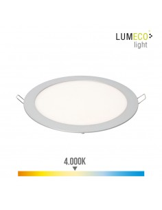Downlight led empotrable 20w luz dia 4.000k 1500 lumens cromo mate lumeco