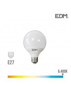 Bombilla globo ø 95mm led 10w e27 6.400k luz fria edm