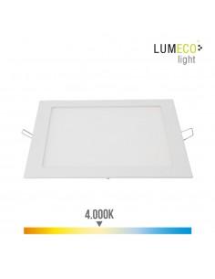Downlight led cuadrado 20w 1500lm 22,5cm marco blanco 4.000k  lumeco
