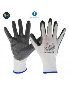 Guante soporte polyester y recubrimiento de nitrilo talla 7