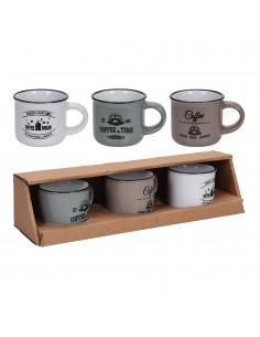 Set 3 tazas ceramicas 100cl