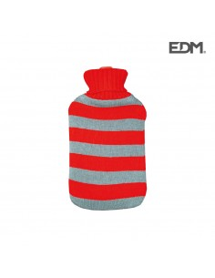 "Bolsa de agua caliente - modelo ""rayas rojas"" - lana - 2l - edm"