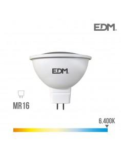 Bombilla dicroica mr16 12v smd 5w 450 lumens 12 leds 6.400k luz fria apertura 120º edm