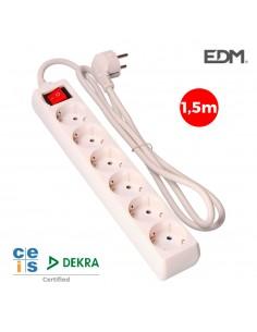 Base multiple 6 tomas schuko com interruptor 1,5m 3x1,5mm