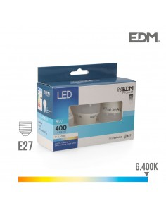 Kit 3 bombillas led esfericas 5w e27 6.400k luz fria edm