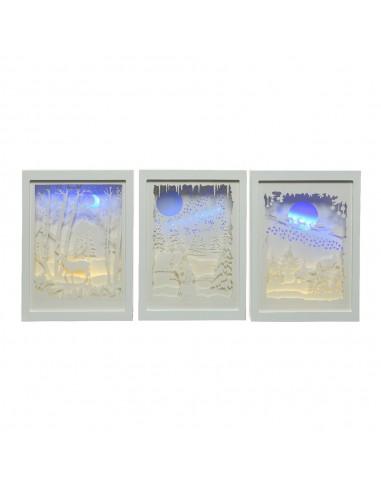 Cuadro led de papel escena navideñas (3 modelos surtidos)