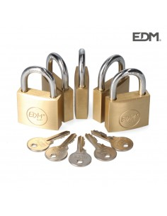 Pack 5 candados laton arco normal 5 llaves iguales 40x23mm edm