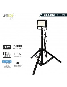 "Foco proyector led  con tripode 30w 6400k 2000 lumens ""black edition"" lumeco"
