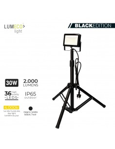 "Foco proyector led  con tripode 30w 4000k 2000 lumens ""black edition"" lumeco"