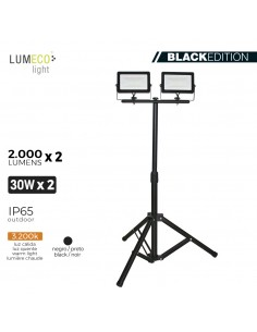 "Foco proyector led  con tripode 2x 30w 3.200k 2x 2000 lumens ""black edition"" lumeco"