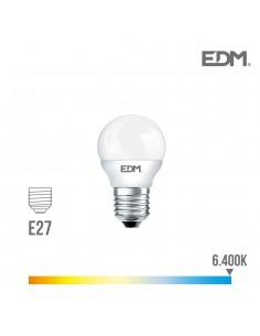 Bombilla esferica led - e27 - 5w - 400 lumens - 6400k - luz fria - edm