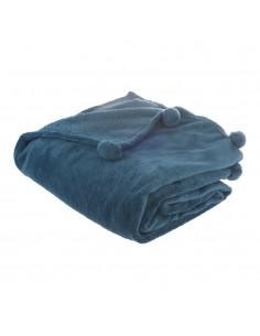 Manta extrasuave modelo pompones color azul marengo 125x150cm