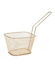 Mini cesta cuadrada para aperitivos color cobre