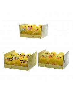 Set 6 pollitos chenille de pascua 4cm modelos varios