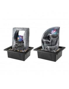 Fuente de agua con led  rgb y bola cristal 17x20,5x25,5cm modelos surtidos