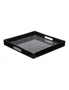 Bandeja negro brillo modelo rallas 32.5x32.5x4cm