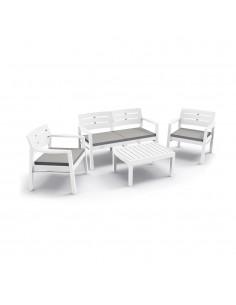 Conjunto salon para interior y exterior: 2 butacas, 1 sofa de 2 plazas con cojines y mesita (uso domestico) disponible aprox 01-