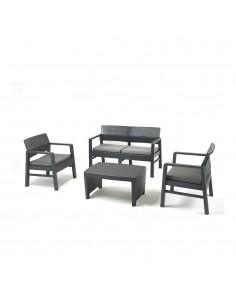 Conjunto salon para interior y exterior imitacion rattan: 2 butacas, 1 sofa de 2 plazas con cojines y mesita (uso domestico) dis