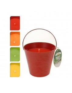 Vela citronela  230gr cubo metalico colores surtidos