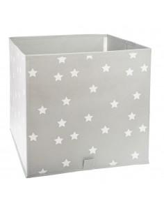 Cesta ordenación infantil color gris con estrellas