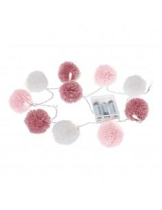 Guirnalda infantil pompones color rosa y gris