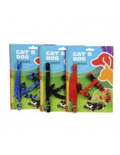 Arnes 30-40cm+ correa nylon 120cm  para cachorros/gatos colores surtidos