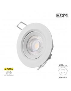 Downlight led empotrable 5w 4.000k redondo marco blanco edm