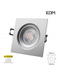 Downlight led empotrable 5w 380 lumen 4.000k cuadrado marco cromo edm