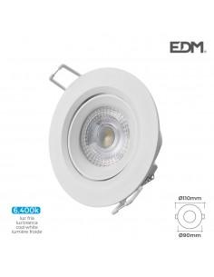 Downlight led empotrable 5w 6.400k redondo marco blanco edm
