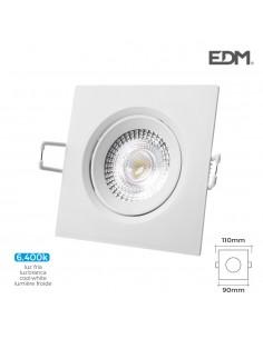 Downlight led empotrable 5w 380 lumen 6.400k cuadrado marco blanco edm