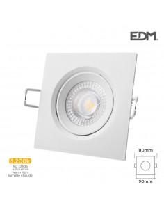 Downlight led empotrar 5w  380 lumen3.200k cuadrado marco blanco edm