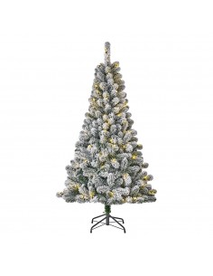 Arbol de navidad con 80leds efecto nevado 266 ramas 155cm