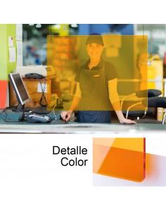 *ult.unidades*  mampara metacrilado naranja 85x74cm 3 mm espesor con 2 agujeros para sujeccion