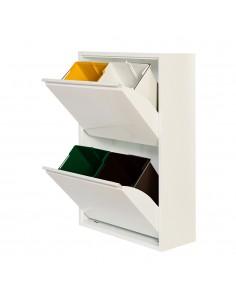 Armario metalico reciclaje 4 cajones blanco