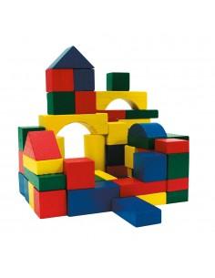 Block piezas de madera en un cubo 100 piezas