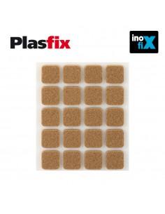 Pack 20 fieltros marron sinteticos adhesivos 17x17mm plasfix inofix