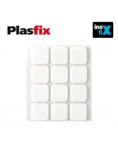 Pack 12 fieltros blanco sinteticos adhesivos 22x22mm plasfix inofix