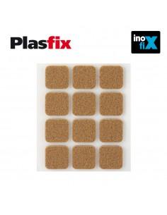 Pack 12 fieltros marron sinteticos adhesivos 22x22mm plasfix inofix